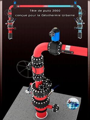 Article aremh complétion de puits doublet géothermique au Dogger Tête de puits 2000 wellhead equipment pour doublet géothermique