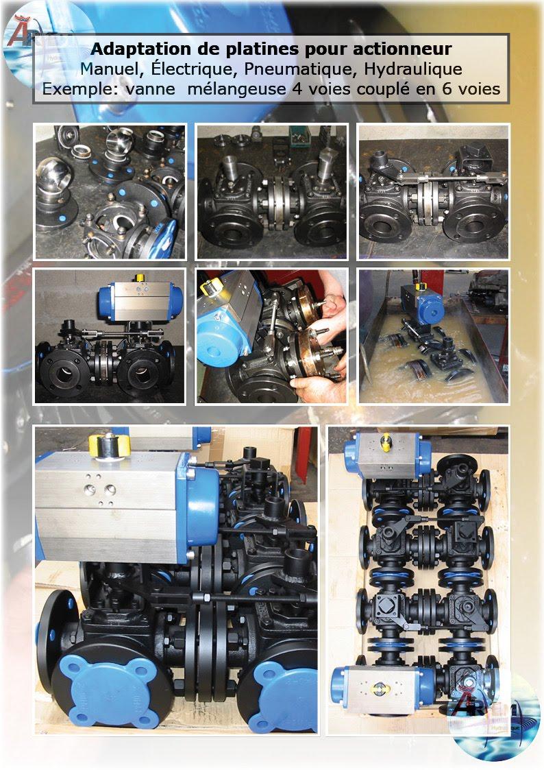 AremH Adaptation Platine ISO Actionneur vannes valves 4 voies